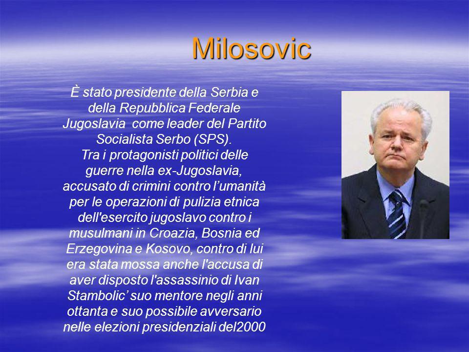 Milosovic È stato presidente della Serbia e della Repubblica Federale Jugoslavia come leader del Partito Socialista Serbo (SPS).