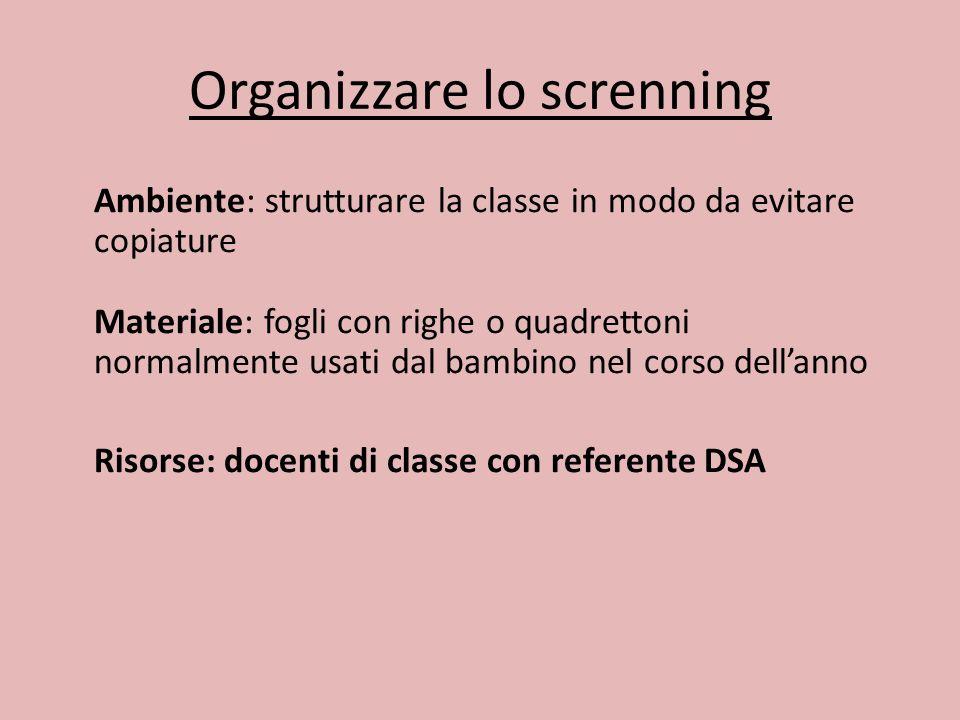 Organizzare lo screnning