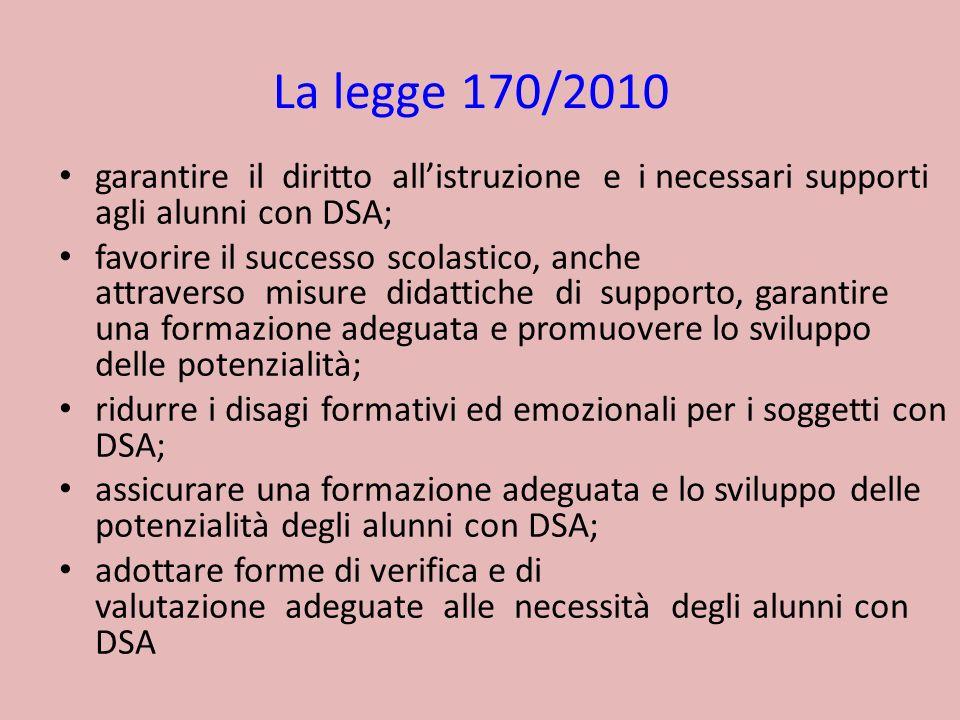 La legge 170/2010 garantire il diritto all'istruzione e i necessari supporti agli alunni con DSA;