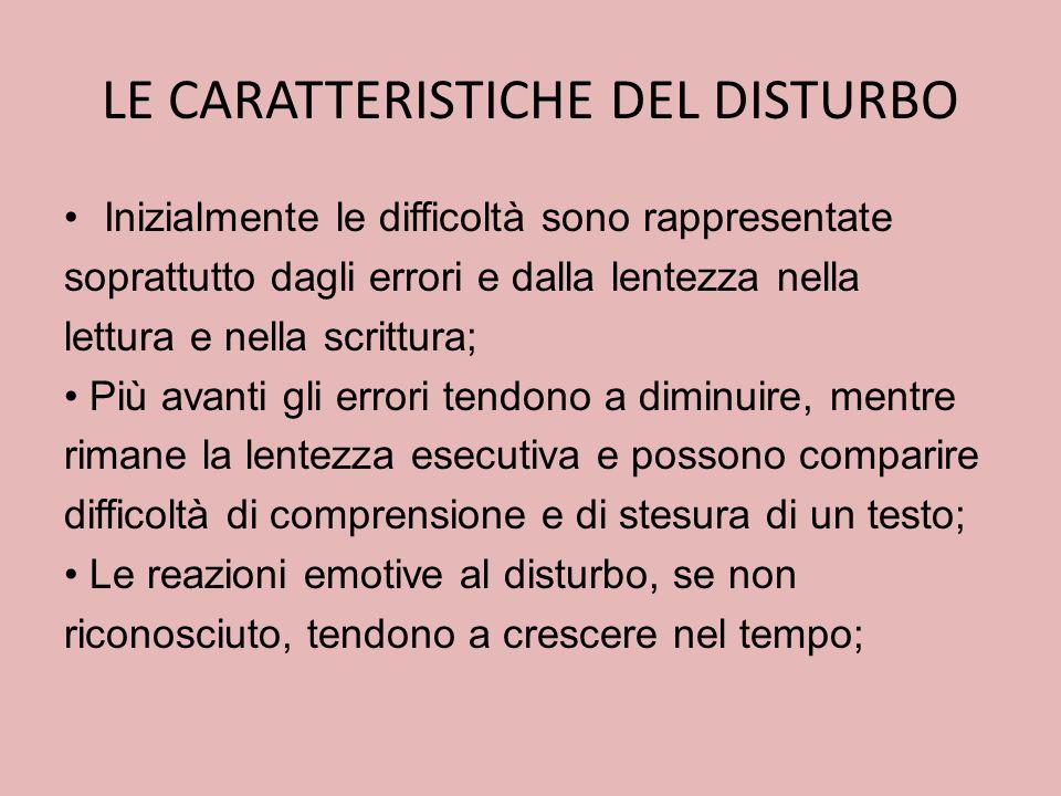 LE CARATTERISTICHE DEL DISTURBO