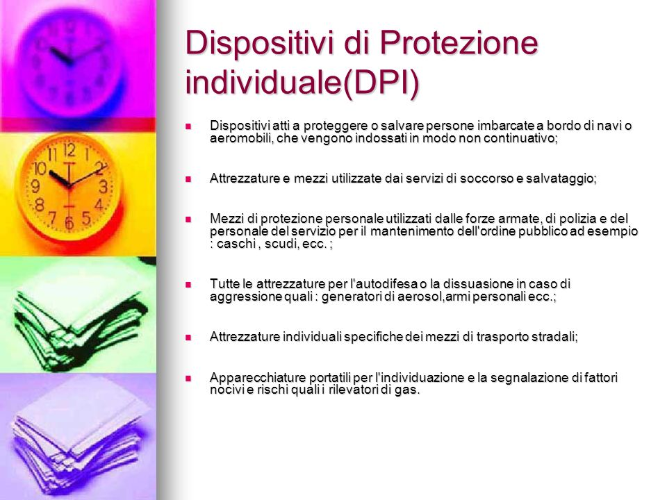 Dispositivi di Protezione individuale(DPI)