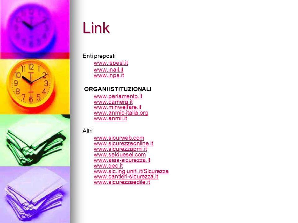 Link Enti preposti www.ispesl.it www.inail.it www.inps.it