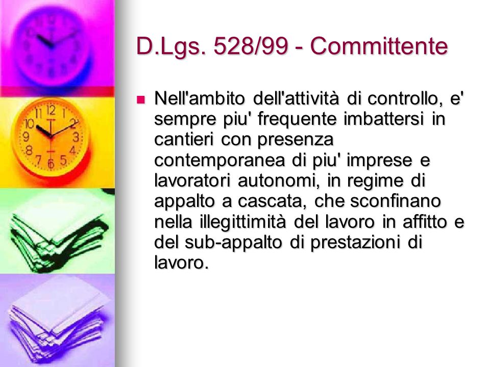 D.Lgs. 528/99 - Committente