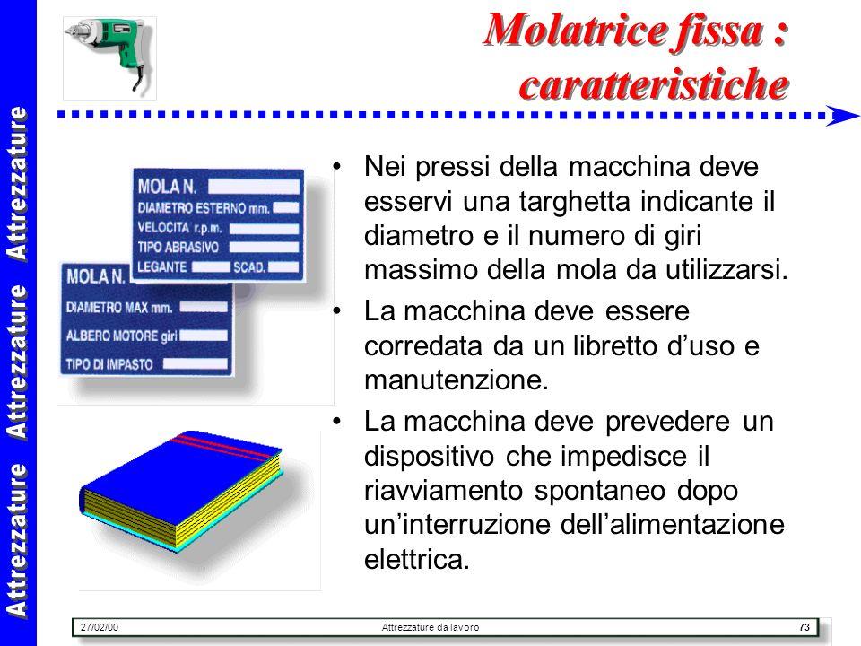 Molatrice fissa : caratteristiche