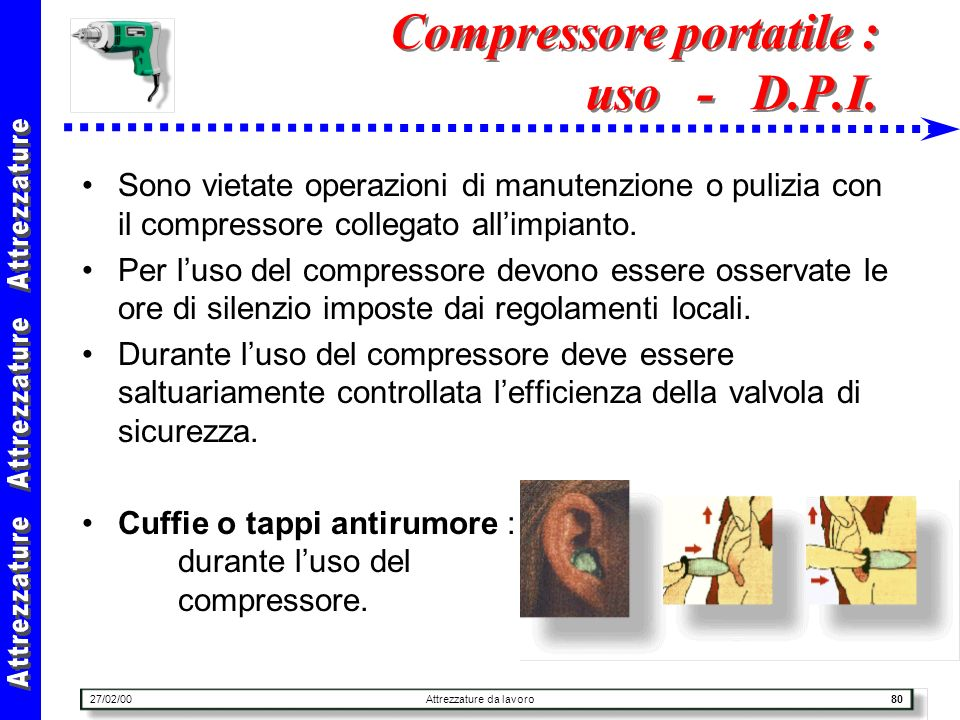 Compressore portatile : uso - D.P.I.