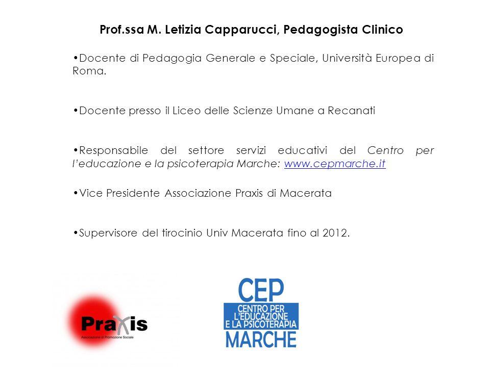 Prof.ssa M. Letizia Capparucci, Pedagogista Clinico