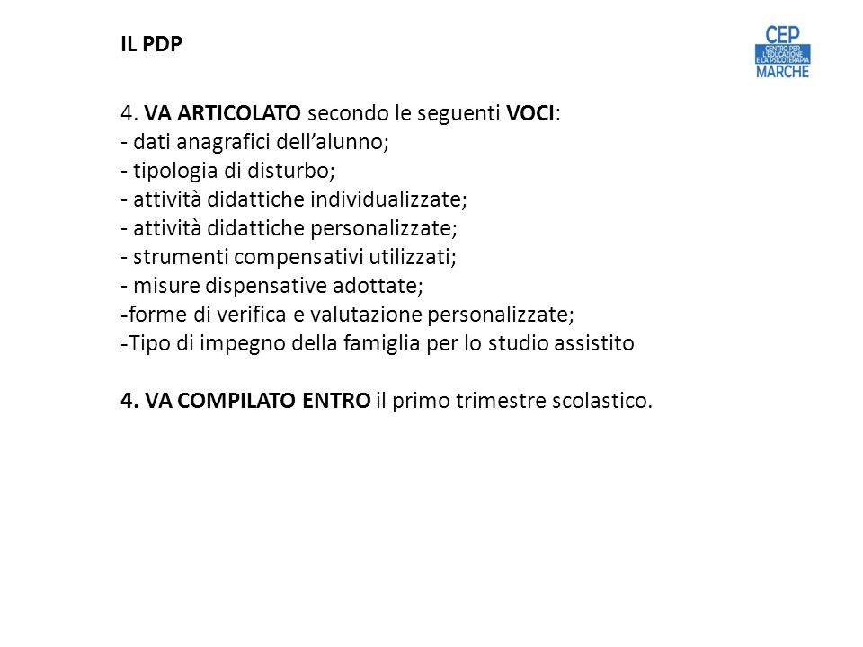 4. VA ARTICOLATO secondo le seguenti VOCI: