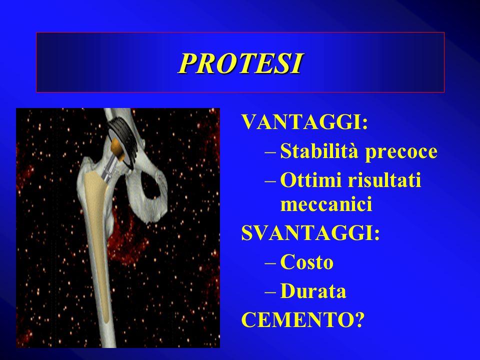 PROTESI VANTAGGI: Stabilità precoce Ottimi risultati meccanici