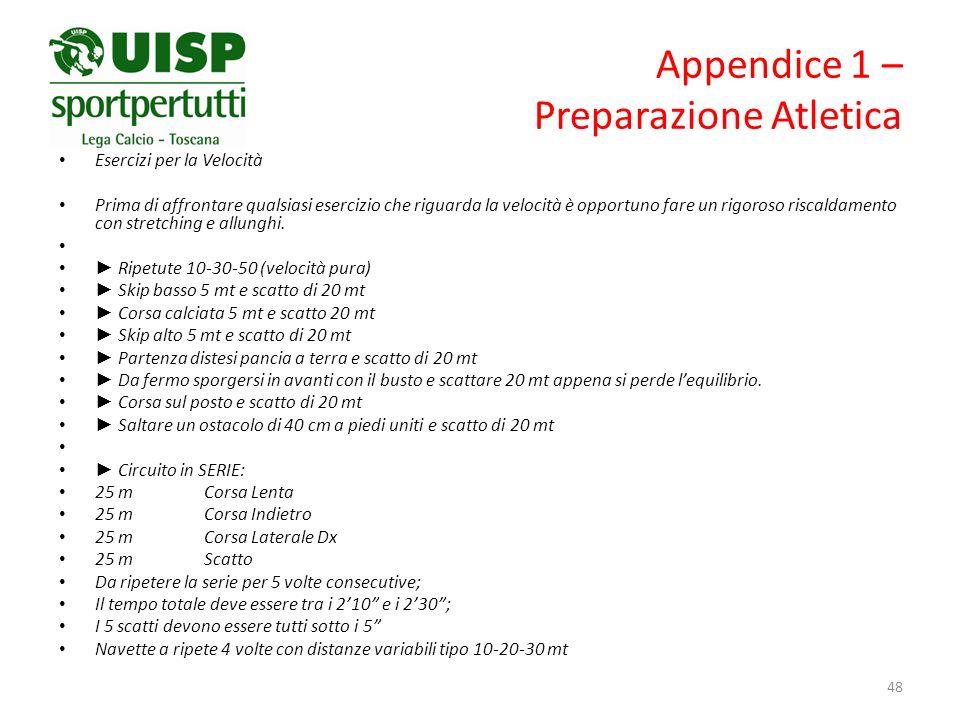 Appendice 1 – Preparazione Atletica