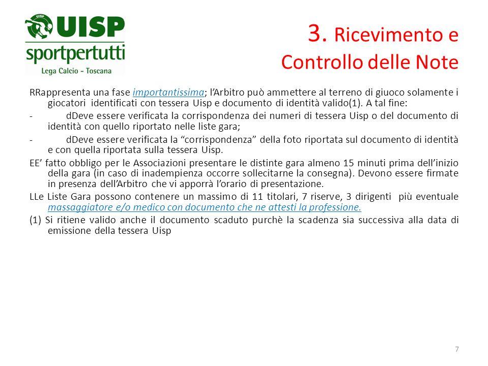 3. Ricevimento e Controllo delle Note