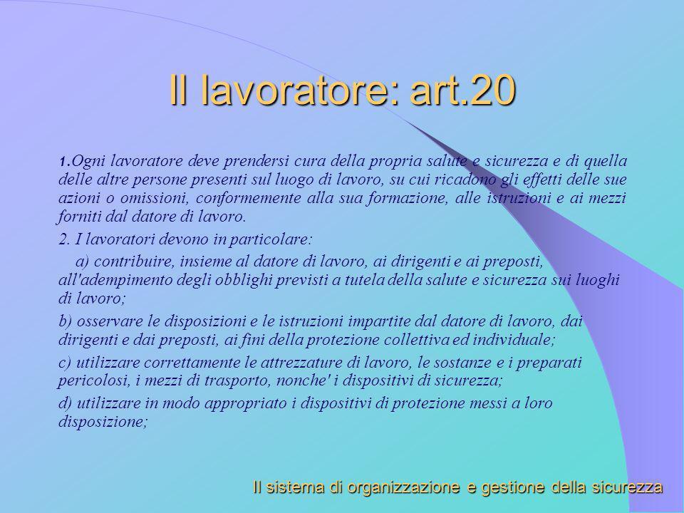 Il lavoratore: art.20 2. I lavoratori devono in particolare:
