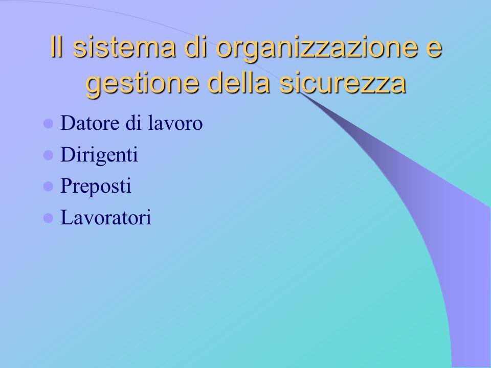 Il sistema di organizzazione e gestione della sicurezza