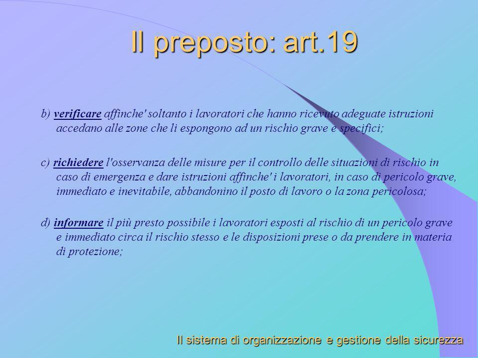 Il preposto: art.19