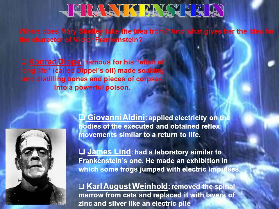 FRANKENSTEIN Where does Mary Shelley take the idea from And what gives her the idea for the character of Victor Frankenstein