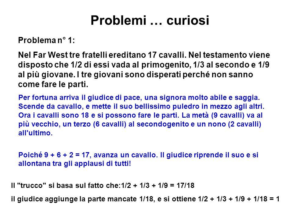 Problemi … curiosi Problema n° 1: