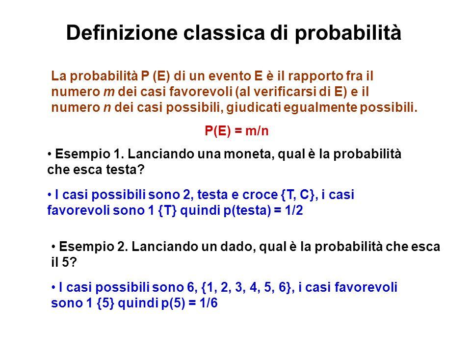 Definizione classica di probabilità