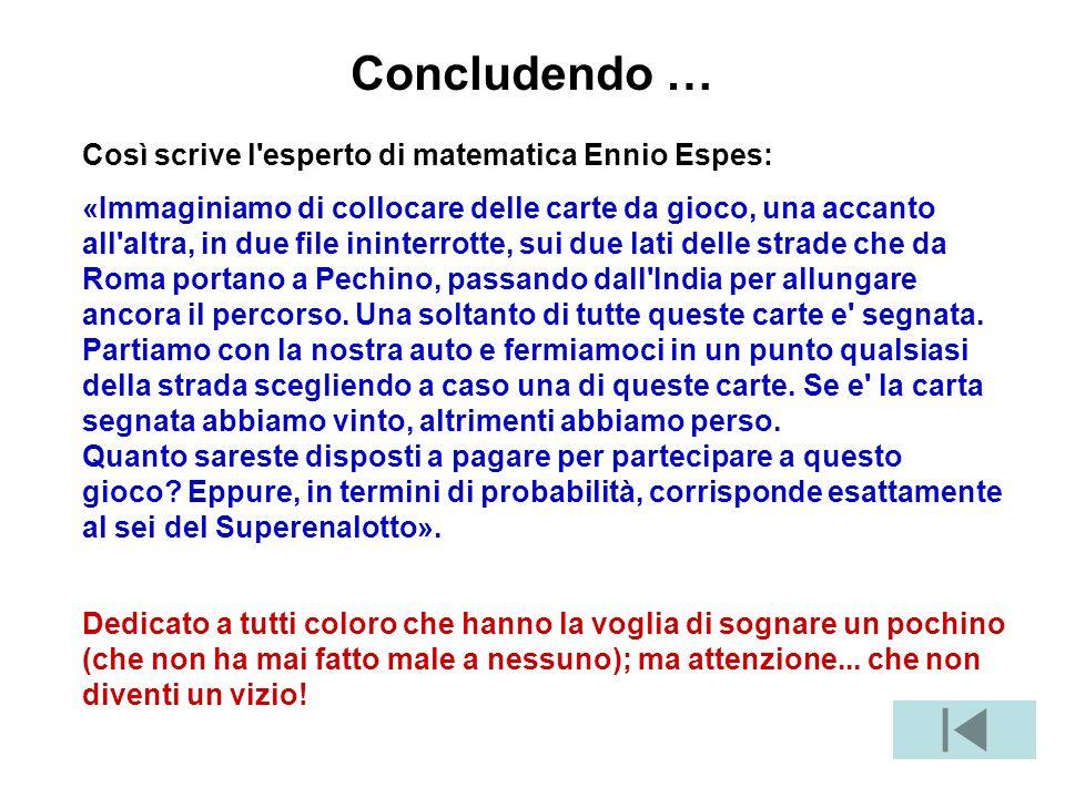 Concludendo … Così scrive l esperto di matematica Ennio Espes: