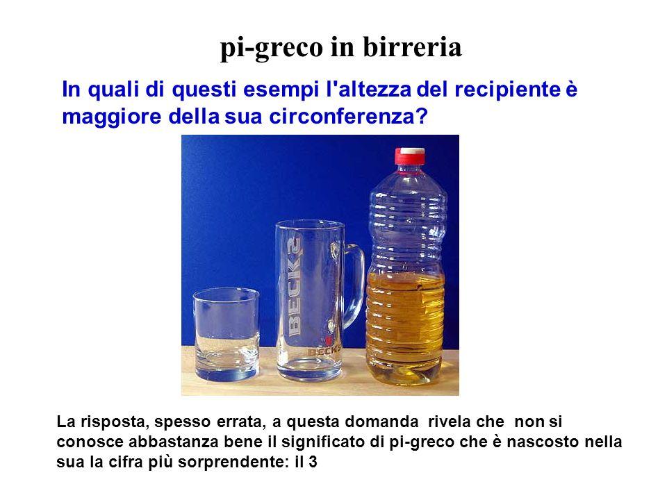 pi-greco in birreria In quali di questi esempi l altezza del recipiente è maggiore della sua circonferenza