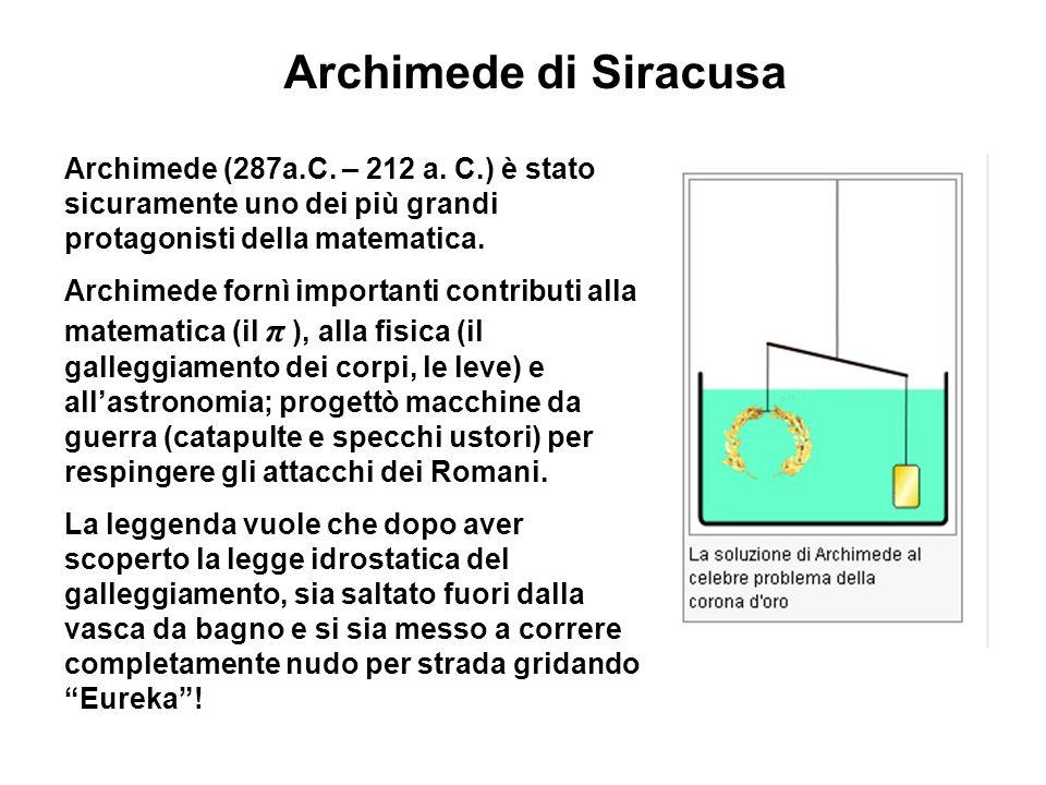 Archimede di Siracusa Archimede (287a.C. – 212 a. C.) è stato sicuramente uno dei più grandi protagonisti della matematica.