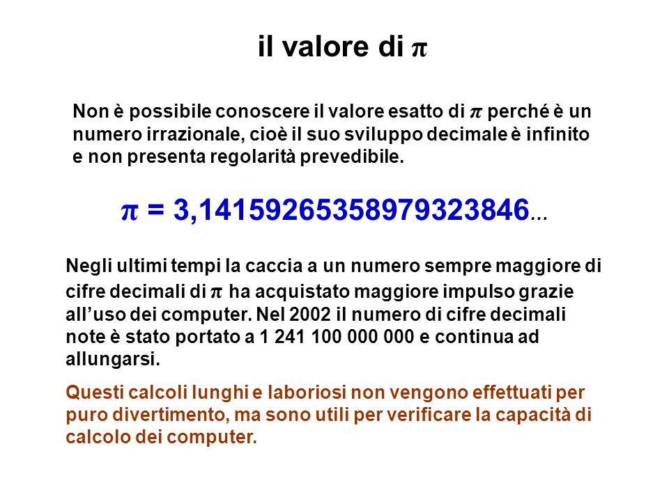 il valore di π