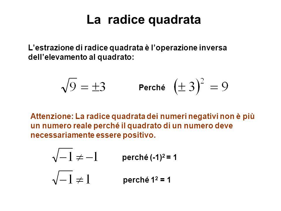 La radice quadrata L'estrazione di radice quadrata è l'operazione inversa dell'elevamento al quadrato: