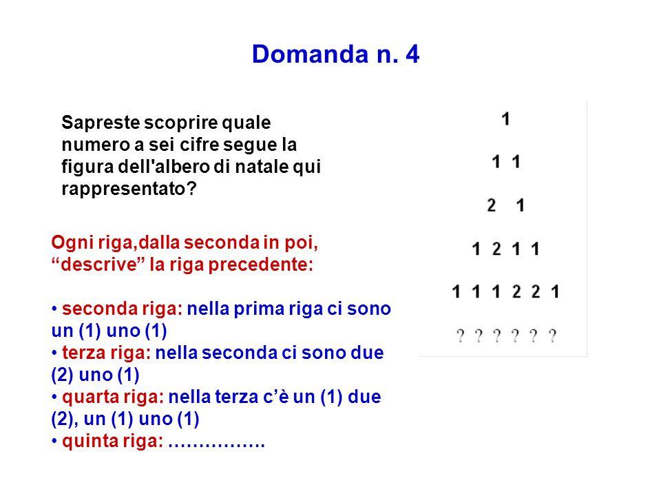 Domanda n. 4 Sapreste scoprire quale numero a sei cifre segue la figura dell albero di natale qui rappresentato