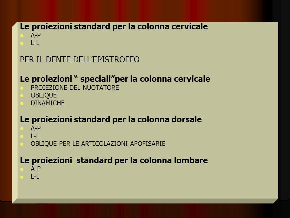 Le proiezioni standard per la colonna cervicale