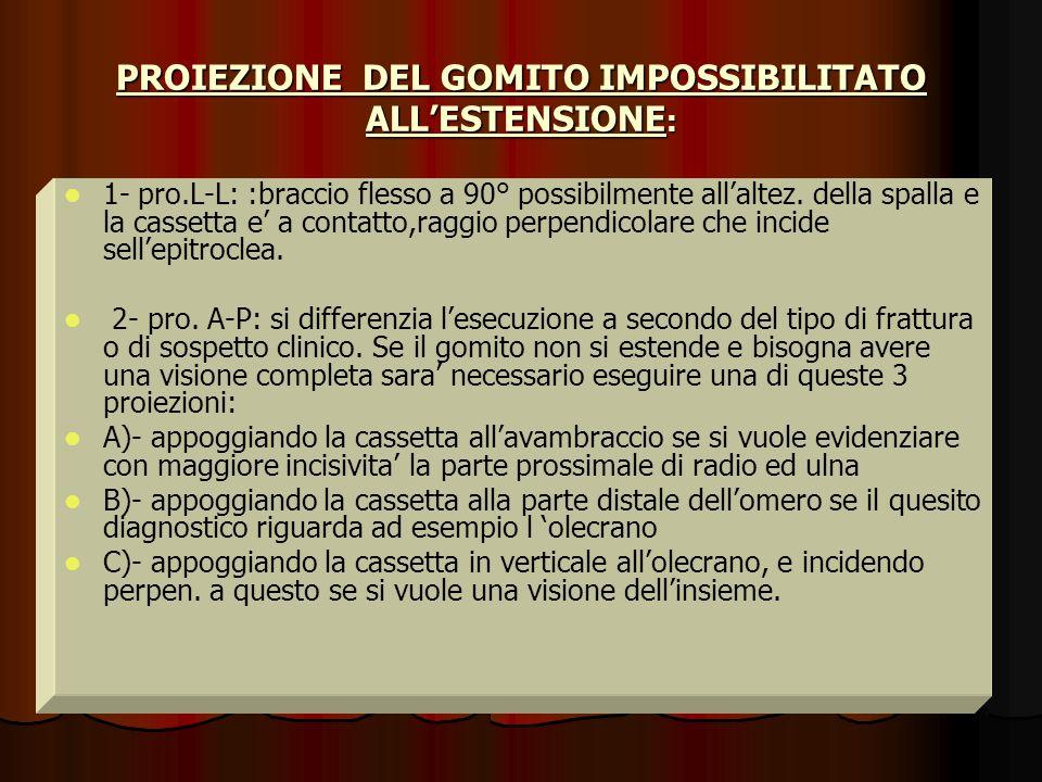 PROIEZIONE DEL GOMITO IMPOSSIBILITATO ALL'ESTENSIONE: