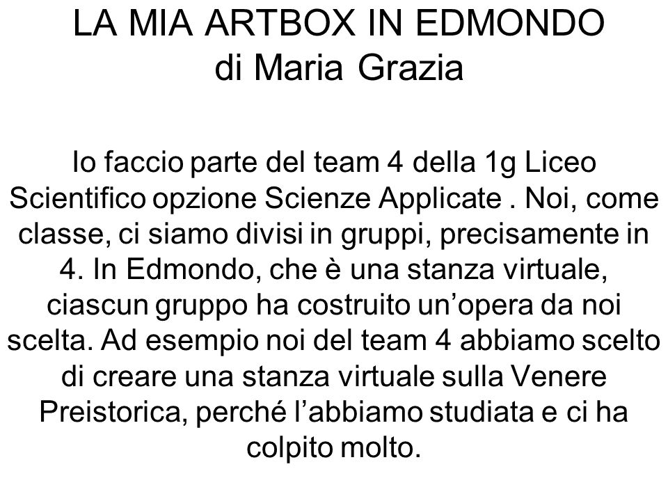 LA MIA ARTBOX IN EDMONDO di Maria Grazia