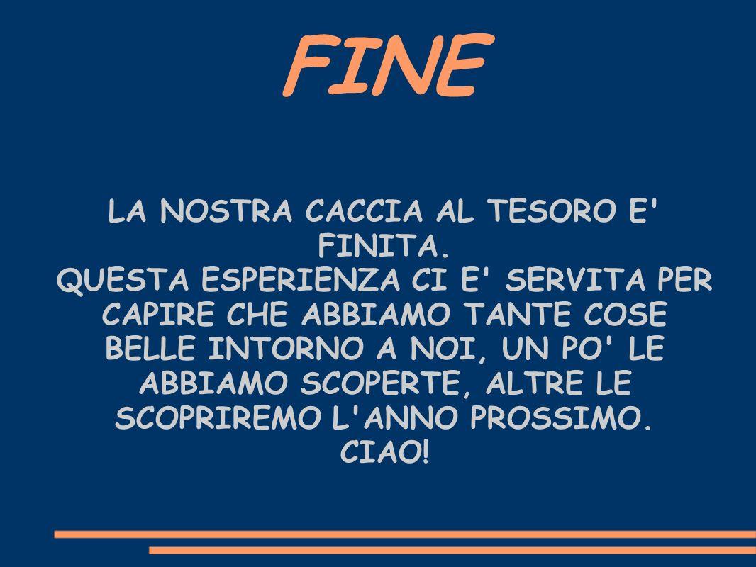 FINE LA NOSTRA CACCIA AL TESORO E FINITA.