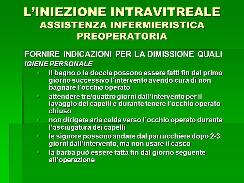 L'INIEZIONE INTRAVITREALE ASSISTENZA INFERMIERISTICA PREOPERATORIA