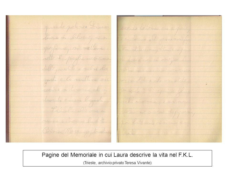 Pagine del Memoriale in cui Laura descrive la vita nel F.K.L.