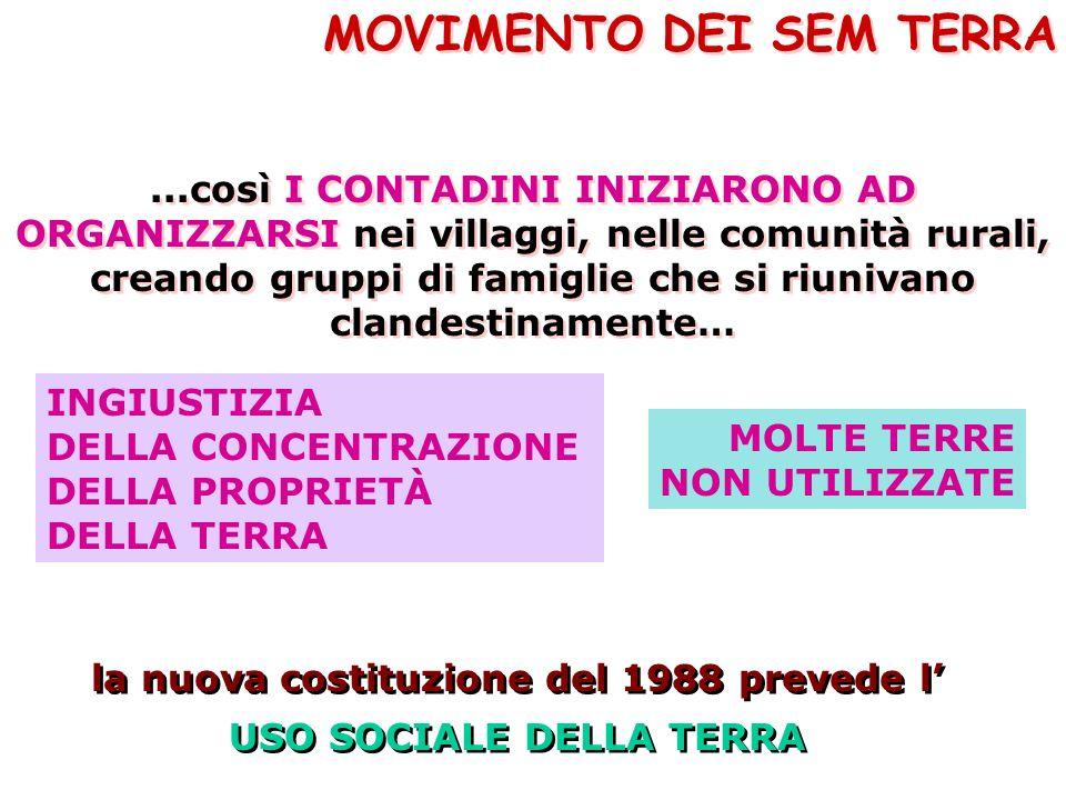 la nuova costituzione del 1988 prevede l' USO SOCIALE DELLA TERRA