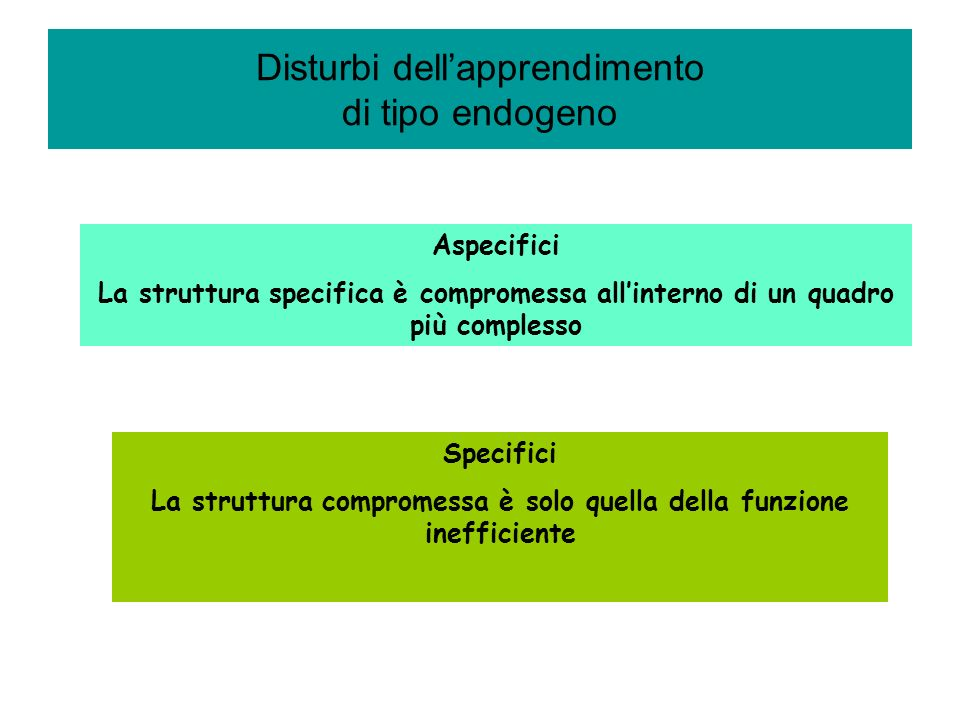 Disturbi dell'apprendimento di tipo endogeno