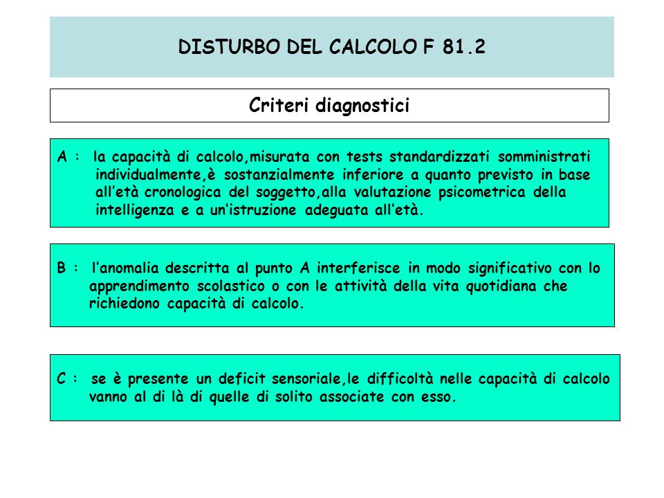 DISTURBO DEL CALCOLO F 81.2 Criteri diagnostici