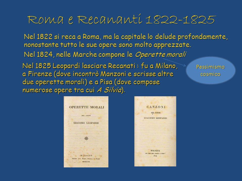 Roma e Recananti 1822-1825 Nel 1822 si reca a Roma, ma la capitale lo delude profondamente, nonostante tutto le sue opere sono molto apprezzate.