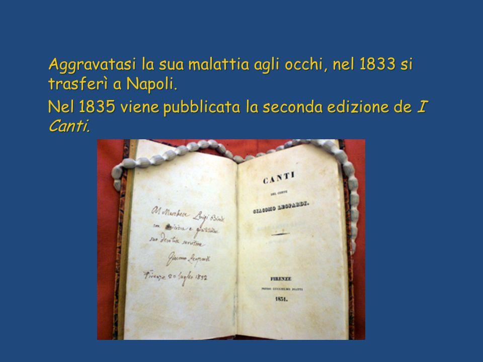 Aggravatasi la sua malattia agli occhi, nel 1833 si trasferì a Napoli