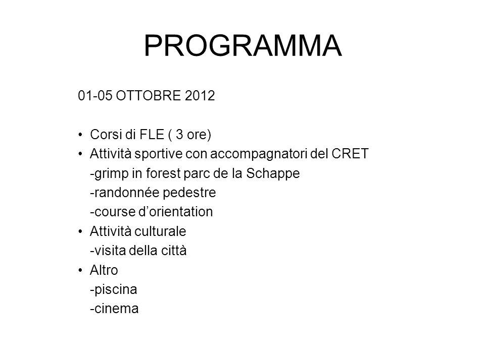 PROGRAMMA 01-05 OTTOBRE 2012 Corsi di FLE ( 3 ore)