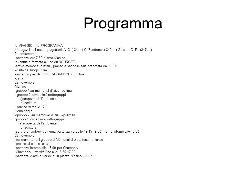 Programma IL VIAGGIO – IL PROGRAMMA