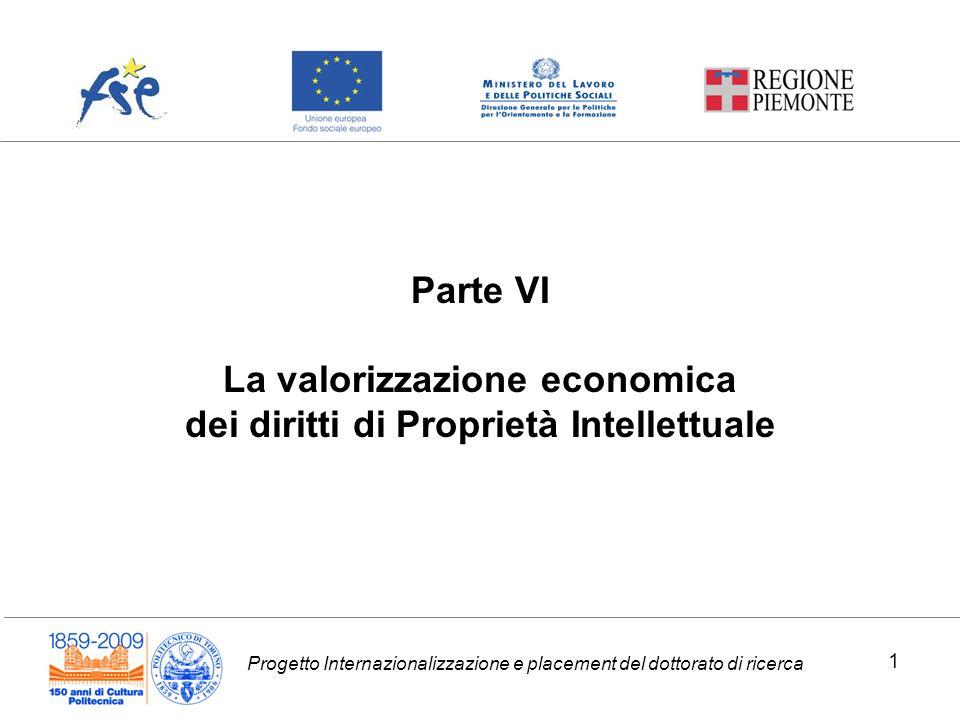 La valorizzazione economica dei diritti di Proprietà Intellettuale