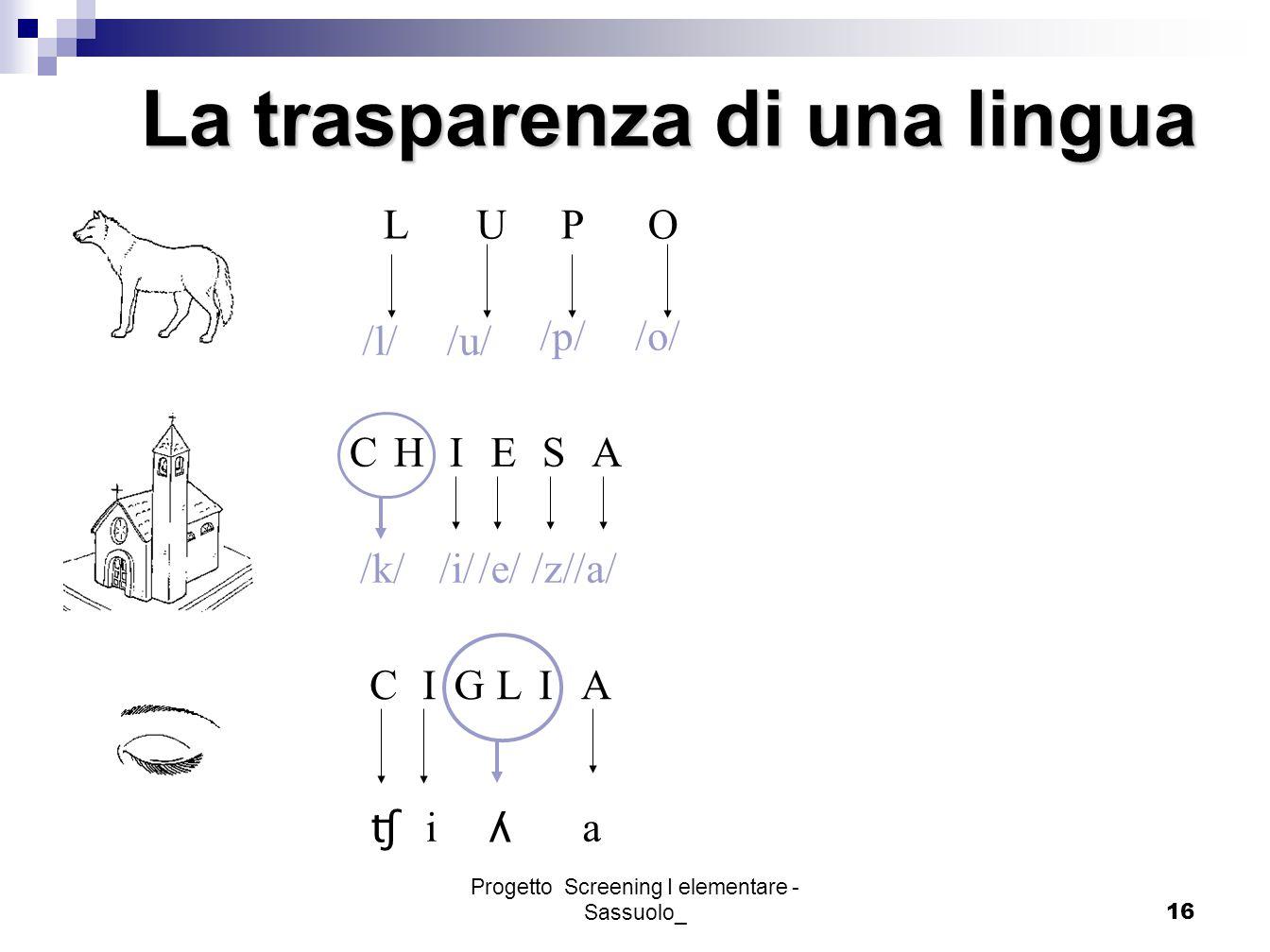 Progetto Screening I elementare - Sassuolo_