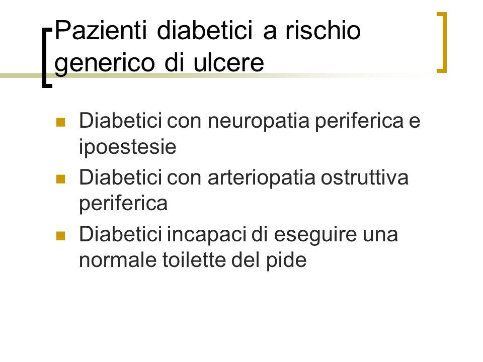 Pazienti diabetici a rischio generico di ulcere
