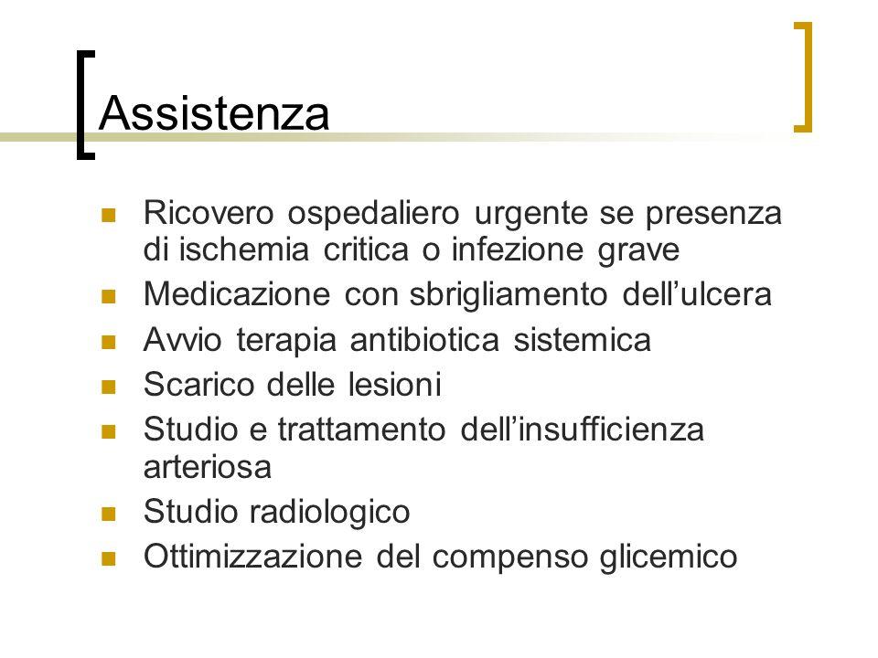 Assistenza Ricovero ospedaliero urgente se presenza di ischemia critica o infezione grave. Medicazione con sbrigliamento dell'ulcera.