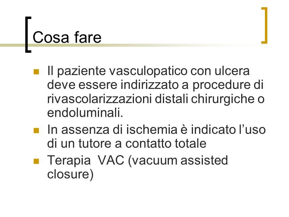 Cosa fare Il paziente vasculopatico con ulcera deve essere indirizzato a procedure di rivascolarizzazioni distali chirurgiche o endoluminali.