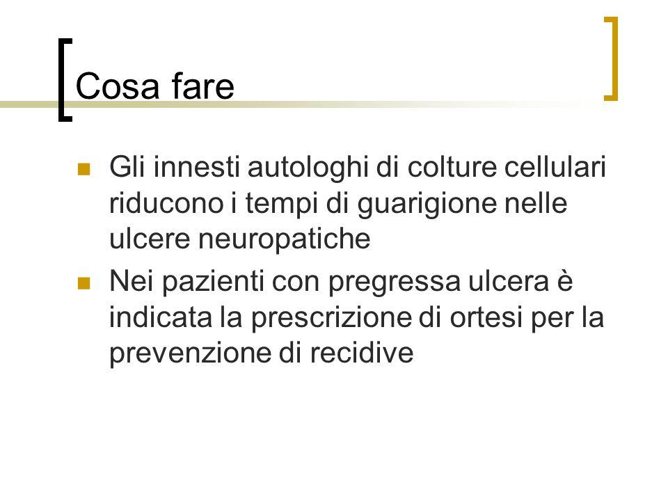 Cosa fare Gli innesti autologhi di colture cellulari riducono i tempi di guarigione nelle ulcere neuropatiche.