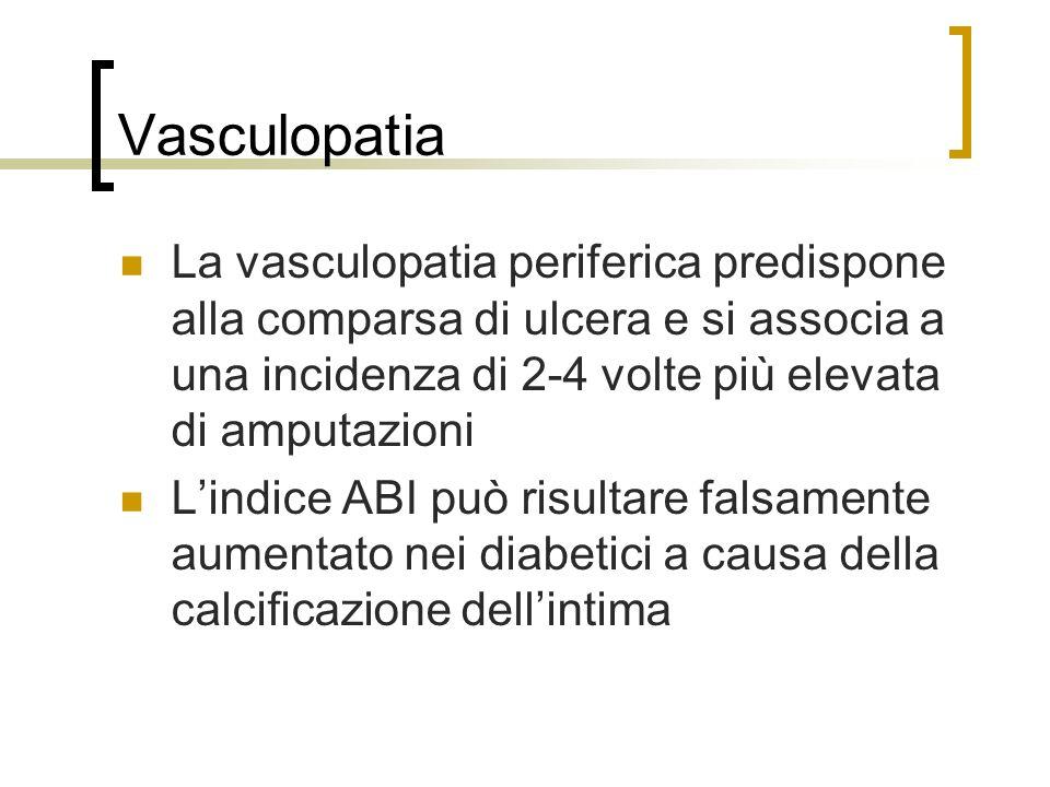 Vasculopatia La vasculopatia periferica predispone alla comparsa di ulcera e si associa a una incidenza di 2-4 volte più elevata di amputazioni.