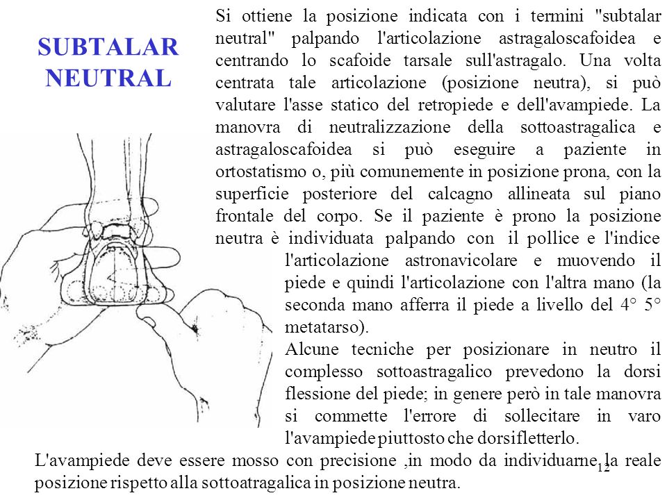 Si ottiene la posizione indicata con i termini subtalar neutral palpando l articolazione astragaloscafoidea e centrando lo scafoide tarsale sull astragalo. Una volta centrata tale articolazione (posizione neutra), si può valutare l asse statico del retropiede e dell avampiede. La manovra di neutralizzazione della sottoastragalica e astragaloscafoidea si può eseguire a paziente in ortostatismo o, più comunemente in posizione prona, con la superficie posteriore del calcagno allineata sul piano frontale del corpo. Se il paziente è prono la posizione neutra è individuata palpando con il pollice e l indice