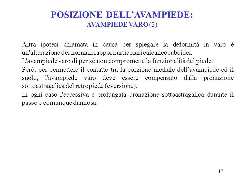 POSIZIONE DELL'AVAMPIEDE: AVAMPIEDE VARO (2)