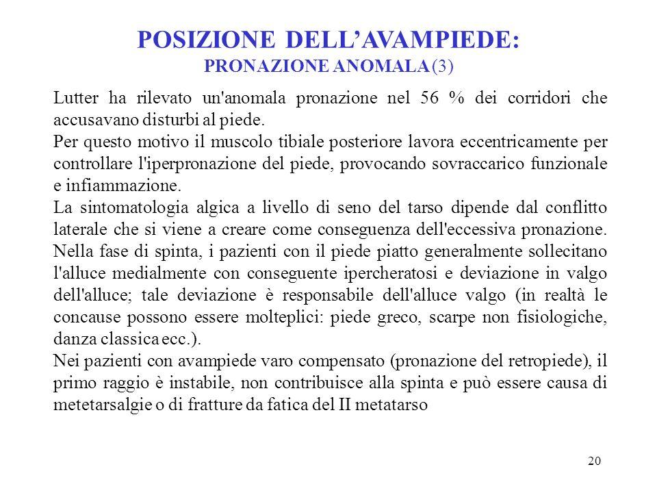 POSIZIONE DELL'AVAMPIEDE: PRONAZIONE ANOMALA (3)