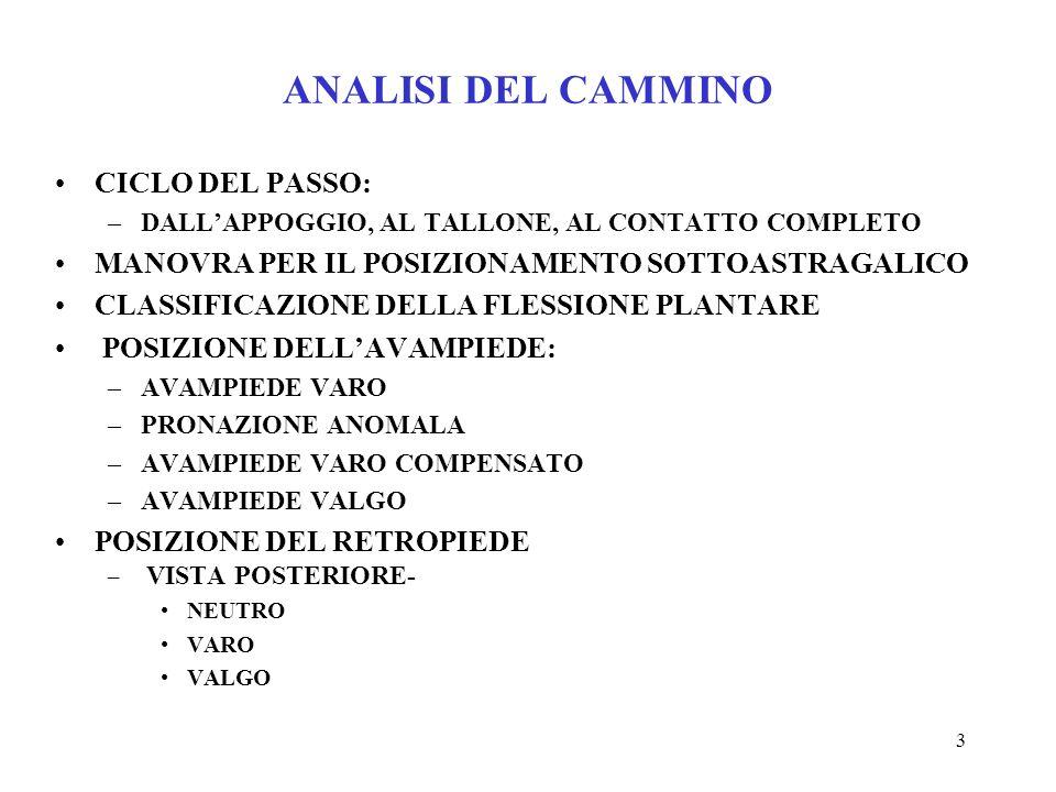 ANALISI DEL CAMMINO CICLO DEL PASSO: